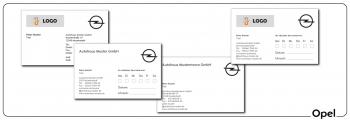 Visitenkarten und Terminkarten Opel