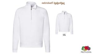 Premium Zip Neck Sweat Shirt Men - weiß