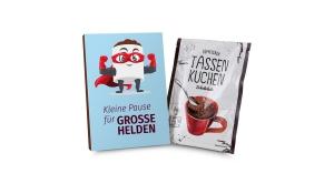 Geschenkartikel / Präsentartikel: Tassenkuchen 70g, Pause für große Pflegehelden