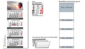 4-Monatskalender 2022 Quadro Wire-O 4 inklusive Werbeeindruck