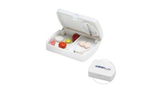 Pillendose mit Tablettenteiler - weiss