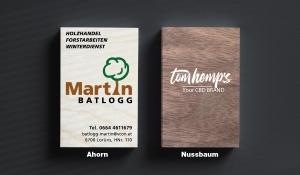 Visitenkarte aus Holz