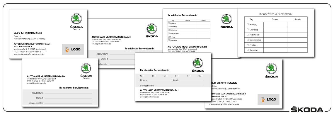 Visitenkarten und Terminkarten Skoda