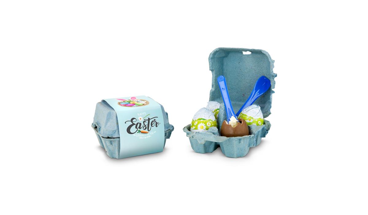 Geschenkartikel / Präsentartikel: Gefüllte Schokoladen-Ostereier im Karton
