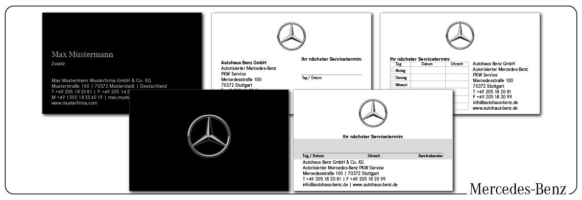 Visitenkarten und Terminkarten Mercedes
